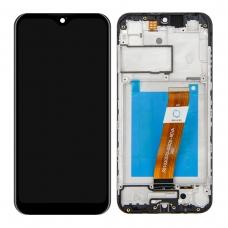 Pantalla completa con marco para Samsung Galaxy A01 A015F negra original