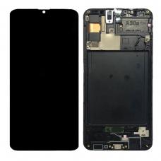 Pantalla completa con marco para Samsung Galaxy A30S A307F negra original