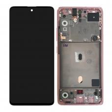 Pantalla completa con marco para Samsung Galaxy A51 5G SM-A516 rosa original
