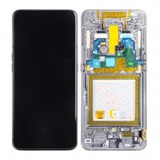 Pantalla completa con marco para Samsung Galaxy A80 A805 plata original