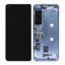 Pantalla completa con marco para Xiaomi Mi 10 5G gris azulado original (Versión Huaxing con letra C en flex)
