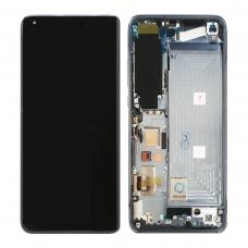 Pantalla completa con marco para Xiaomi Mi 10 5G gris azulado original(Versión Samung con letra S en flex)
