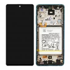 Pantalla completa con marco y batería para Samsung Galaxy A52 A525F A52 5G A526B azul