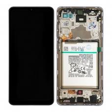 Pantalla completa con marco y batería para Samsung Galaxy A72 A725F violeta original